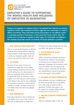 Employers Guide to Supporting the Mental Health and Wellbeing of Employees in Quarantine